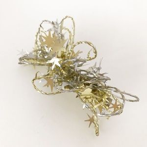Vintage Silver & Gold Star Barrette Clip New Years